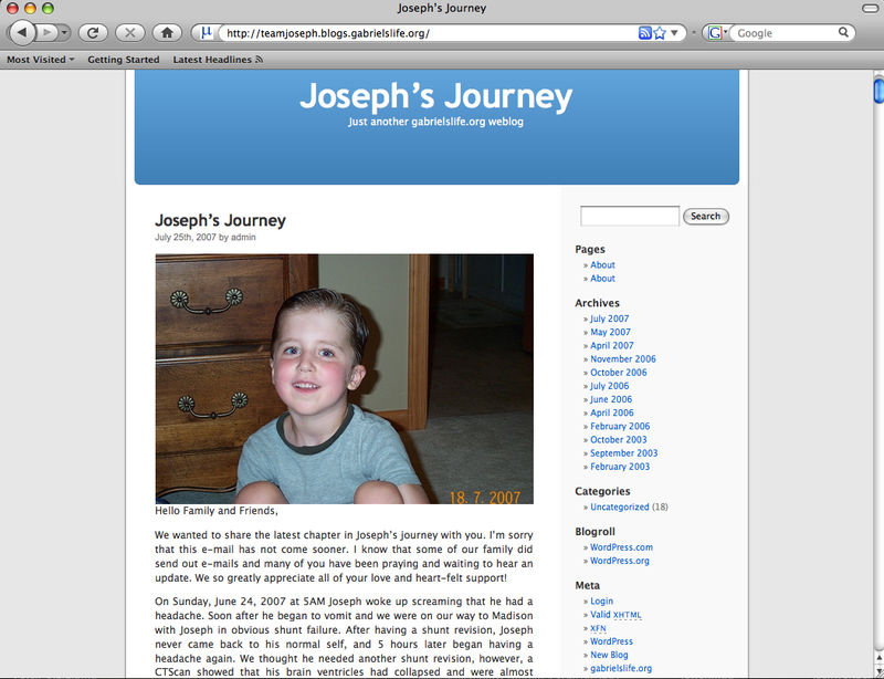 Angela Batterman's blog about her son Joseph